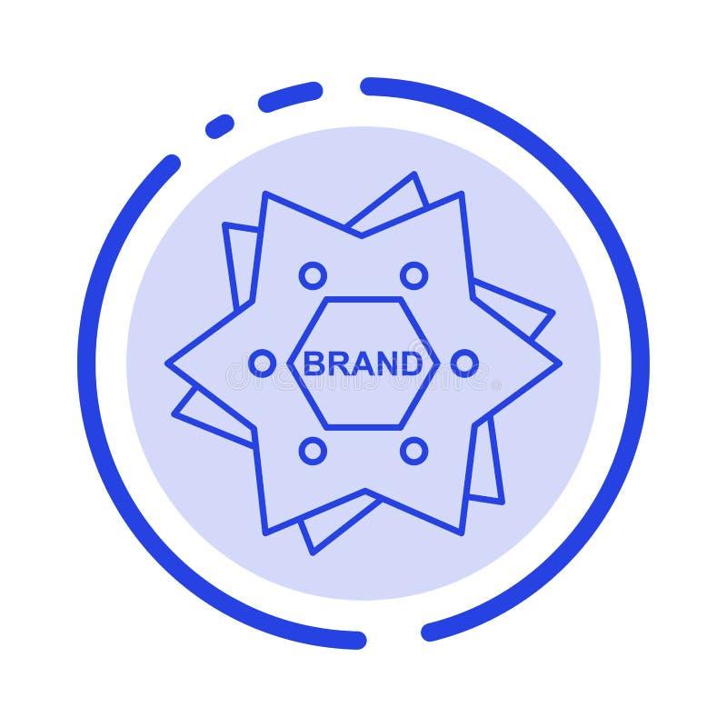 Estrella, calificando, marca, logotipo, línea de puntos azul línea icono de la forma libre illustration