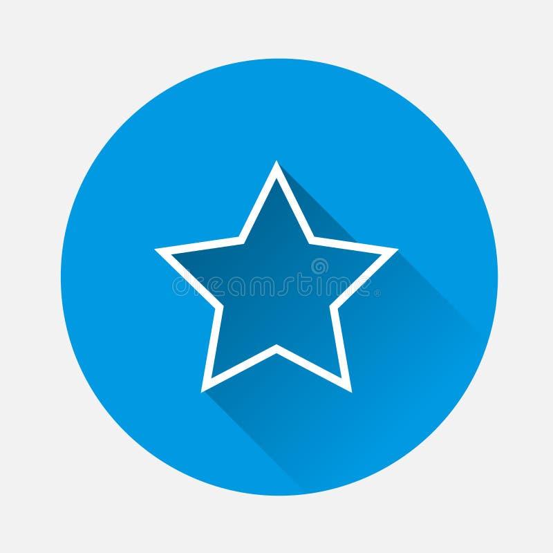 Estrella cinco-acentuada del icono del vector en fondo azul Sta plano de la imagen stock de ilustración
