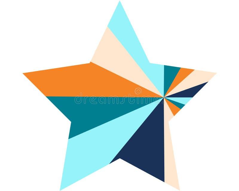 Estrella coloreada multi grande en un estilo moderno en un fondo blanco ilustración del vector