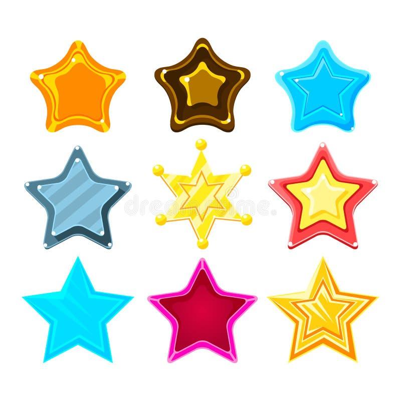 Estrella colorida en cinco puntos de la historieta fijada para las recompensas, las primas y las etiquetas engomadas de destello  libre illustration