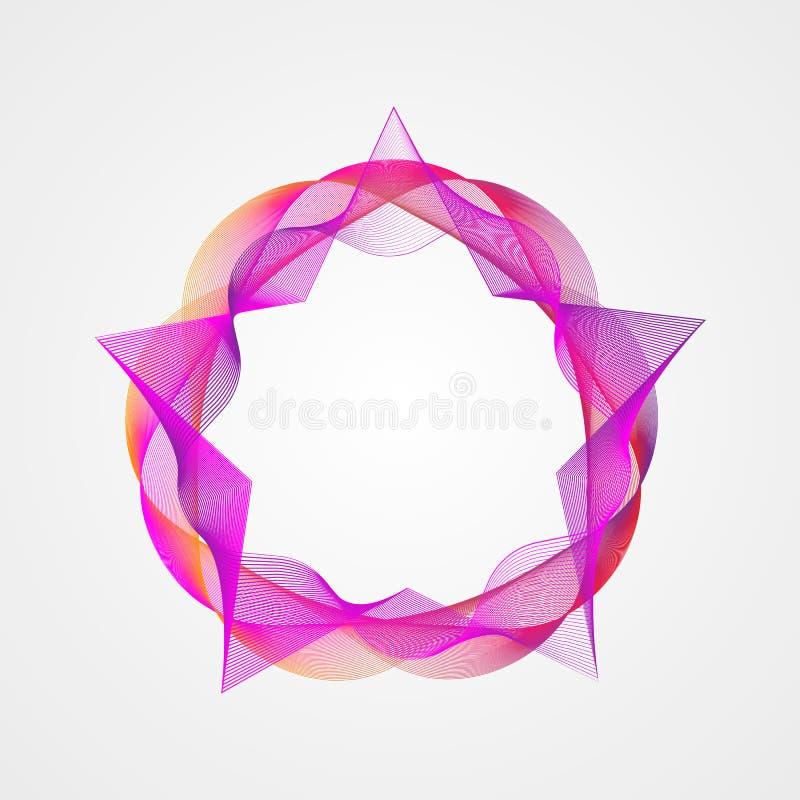 Estrella con el marco rectangular de la pendiente del círculo Elemento estilizado del guilloquis ilustración del vector