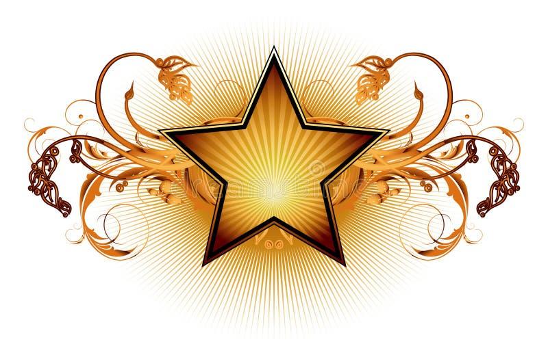 Estrella con los elementos florales libre illustration