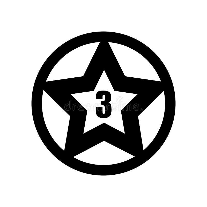 Estrella con vector del icono del número tres aislada en el fondo blanco, estrella con la muestra del número tres, símbolos de la stock de ilustración