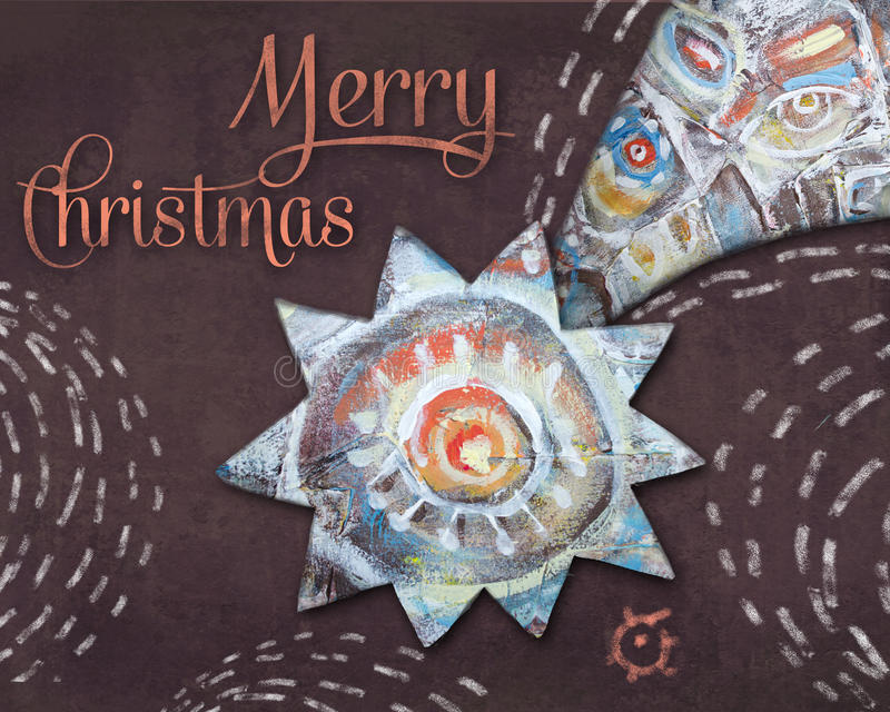 Estrella de Belén de la Navidad en fondo marrón de la noche Muchos ornamentos y regalos del día de fiesta Tarjeta de felicitación libre illustration