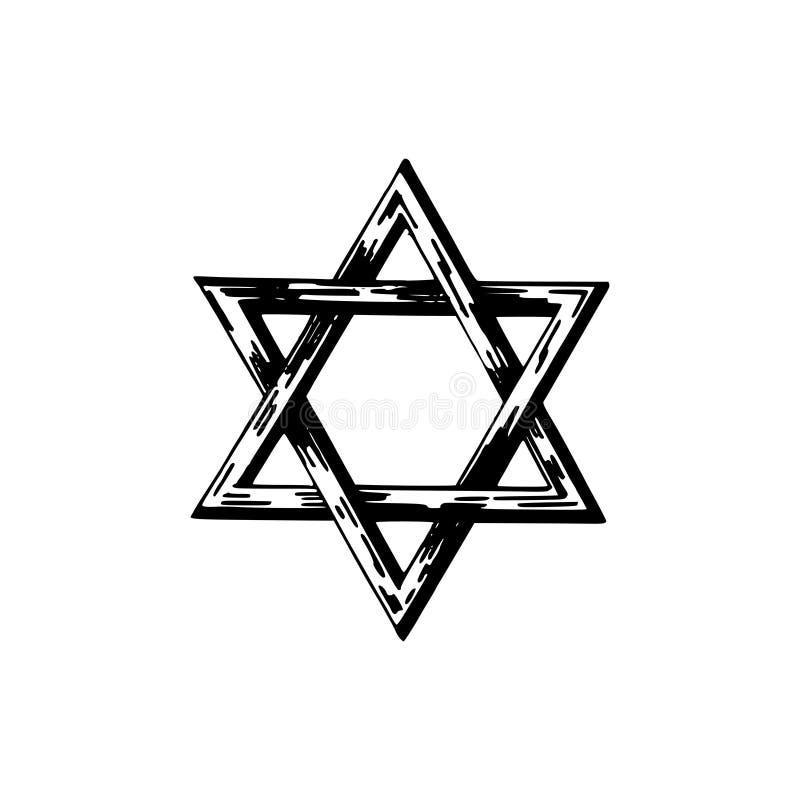 Estrella de David, ejemplo dibujado mano Símbolo judaico de la religión en vector libre illustration