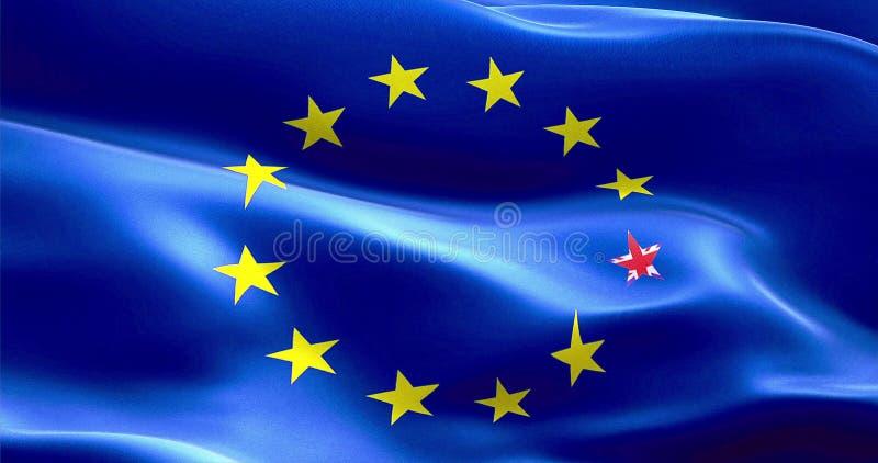 Estrella de la bandera de Brexit Reino Unido Inglaterra en bandera europea ilustración del vector