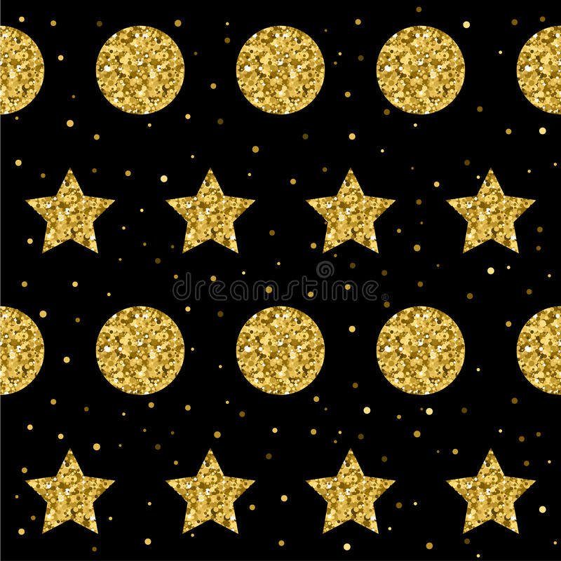 Estrella de la chispa y fondo inconsútil del modelo del círculo Glit de oro libre illustration