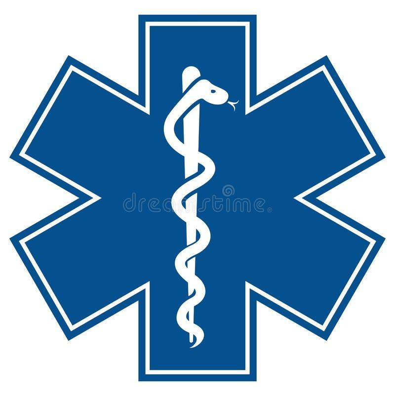 Estrella de la emergencia - ingenio médico de la serpiente del caduceo del símbolo ilustración del vector