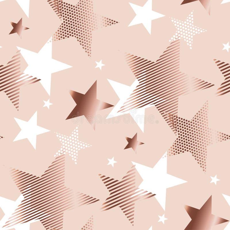 Estrella de la geometría del extracto del color oro de Rose ilustración del vector