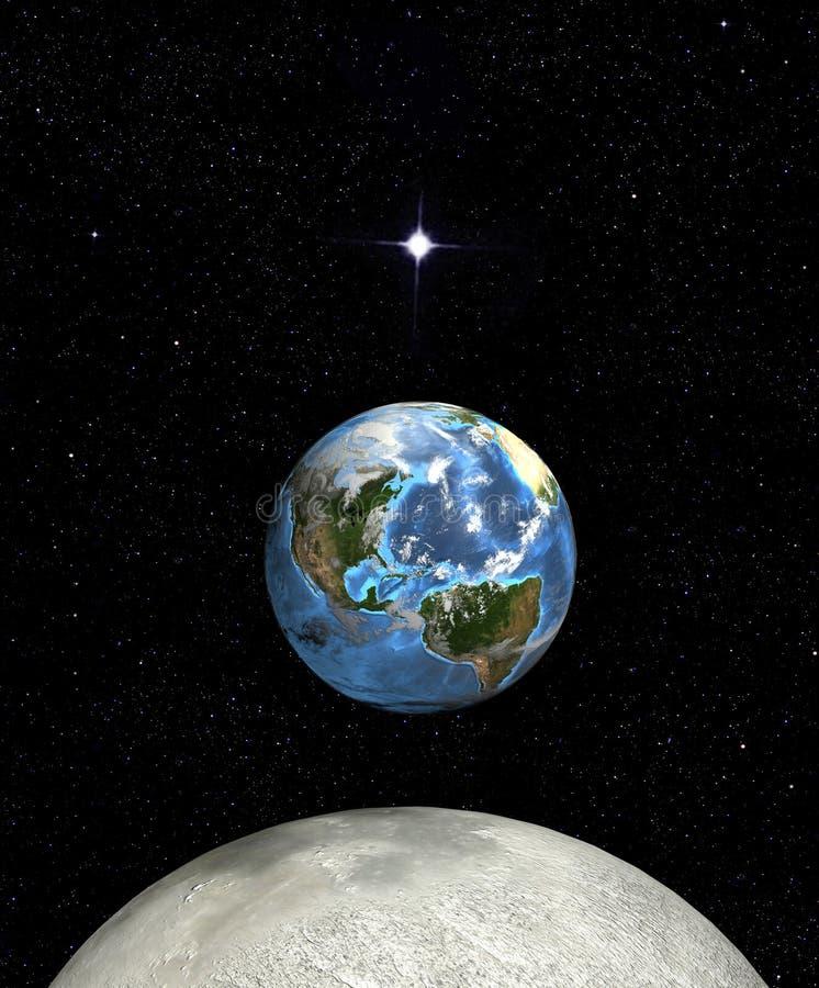 Estrella de la luna de la subida de la tierra en espacio ilustración del vector