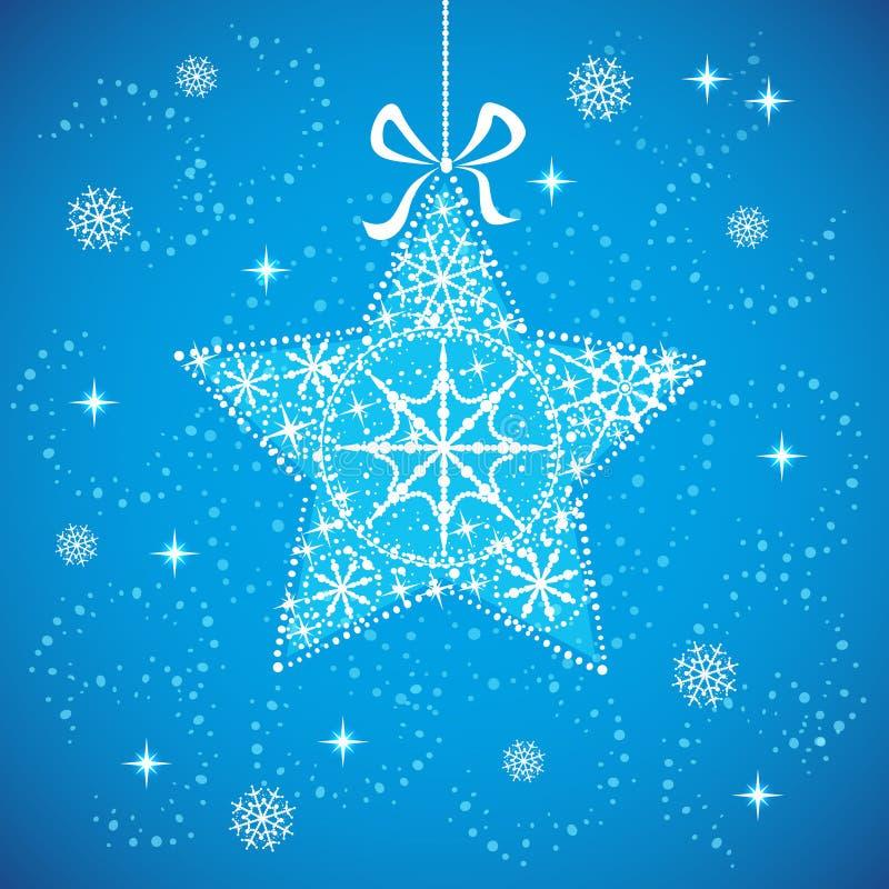 Estrella de la Navidad con los copos de nieve azules. fotografía de archivo