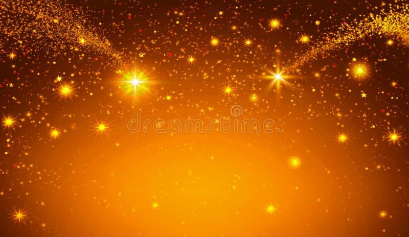 Estrella de la Navidad y cielo abstracto de oro libre illustration