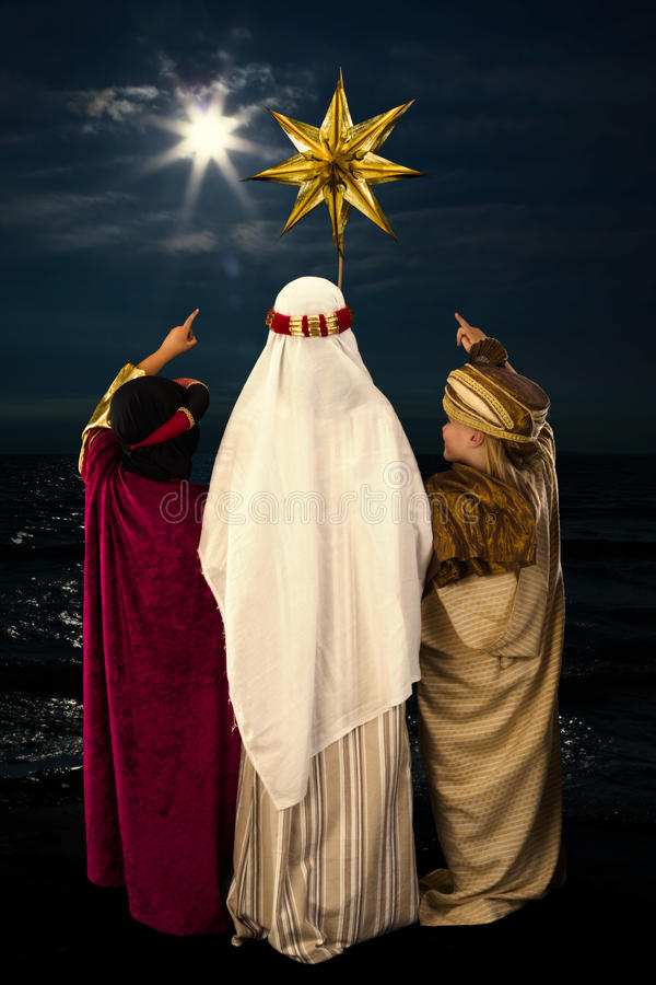 Estrella de la Navidad y hombres sabios fotografía de archivo