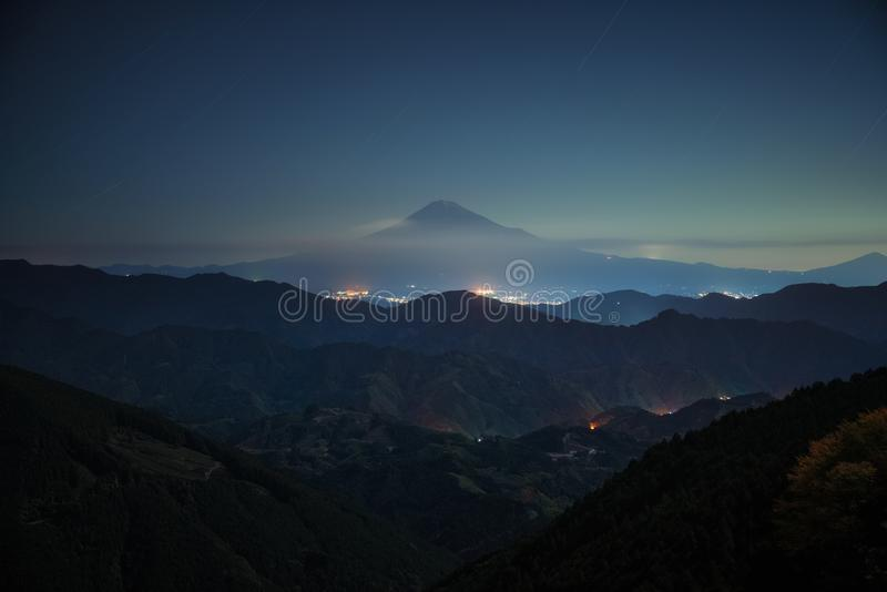 Estrella de la noche de Fuji foto de archivo