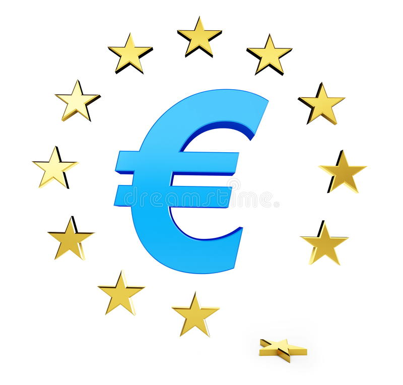 Estrella de la unión europea caída ilustración del vector