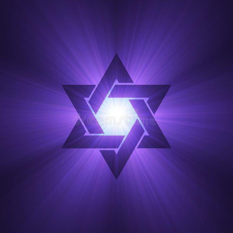 Estrella de las flamas púrpuras de la luz de David ilustración del vector