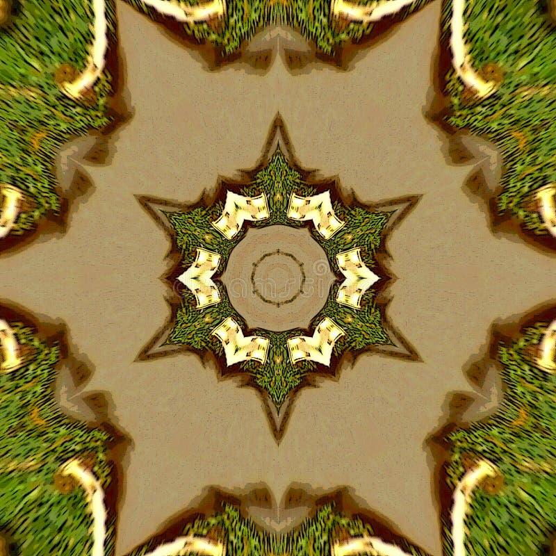 Estrella de Mediaval en oro y plantilla del verde o del diseño Fondo geométrico moderno del color abstracto Diseño moderno Backgr foto de archivo
