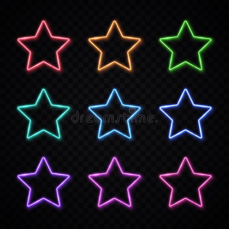 Estrella de neón colorida fijada en fondo transparente libre illustration