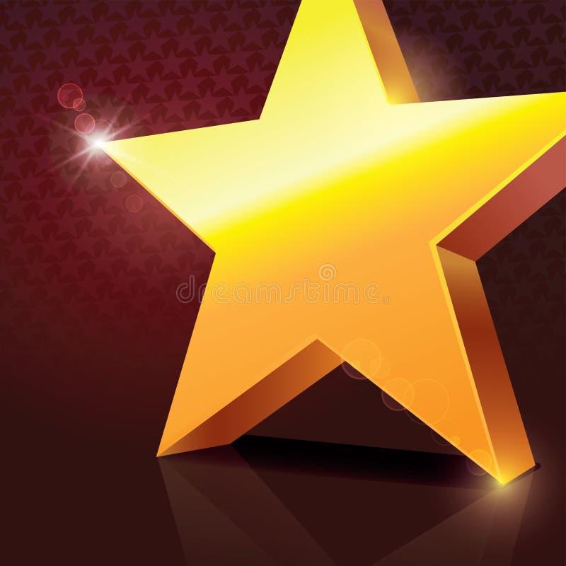 Estrella de oro brillante grande stock de ilustración