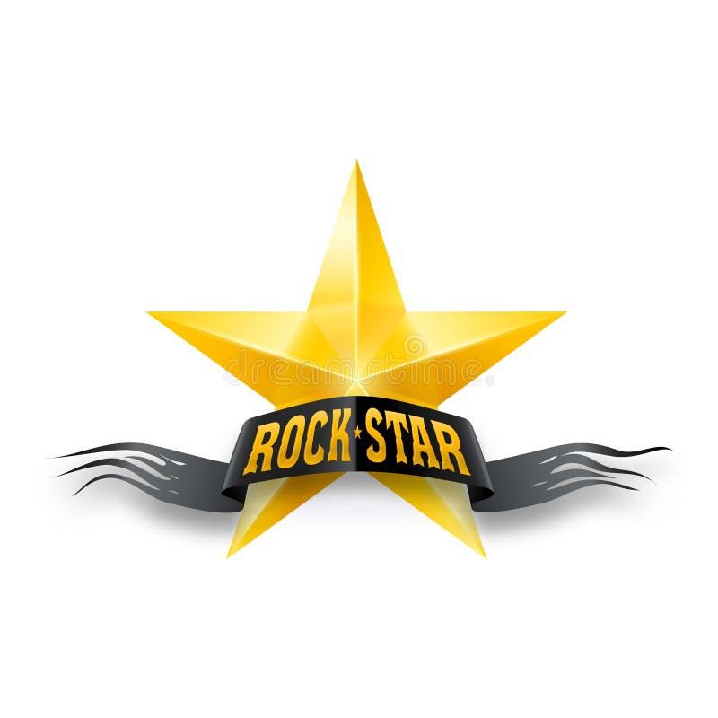 Estrella de oro con la bandera de la estrella del rock ilustración del vector