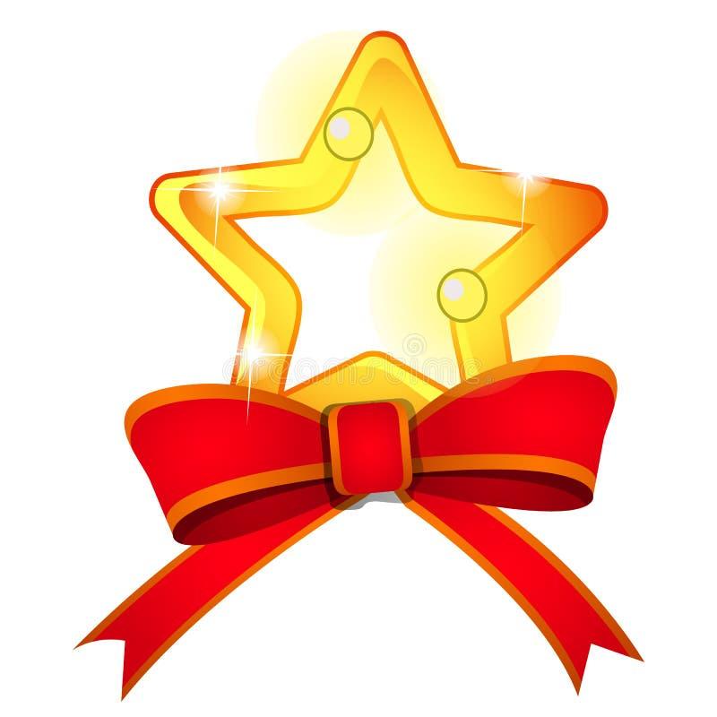 Estrella de oro del elemento brillante del modelo y arco rojo de la cinta aislados en un fondo blanco Bosquejo del cartel festivo ilustración del vector