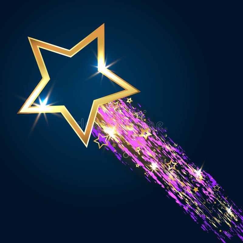Estrella de oro en fondo azul stock de ilustración