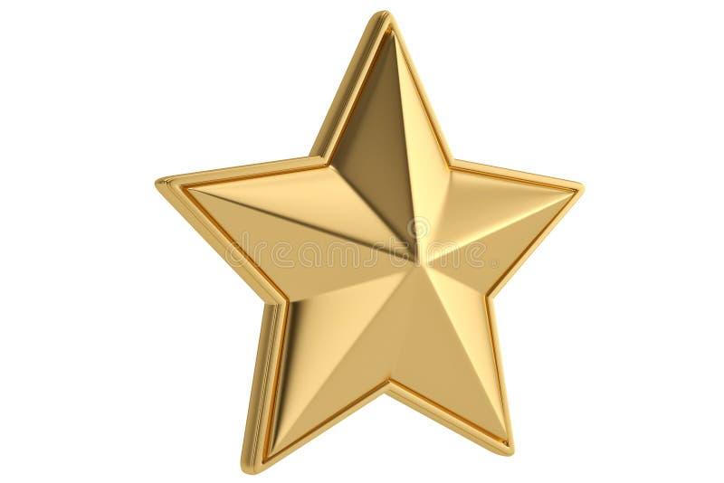 Estrella de oro grande en el fondo blanco ilustración 3D ilustración del vector