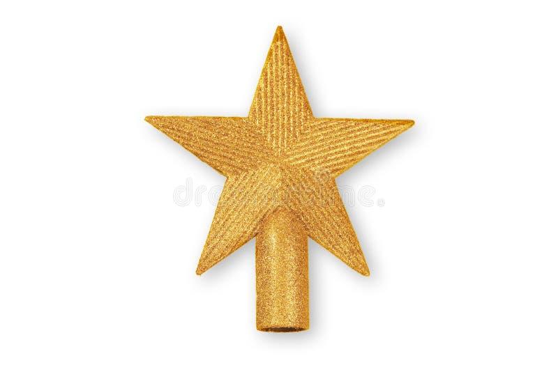 Estrella de oro de la Navidad, ornamento de la Navidad aislado en blanco fotografía de archivo