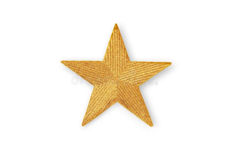 Estrella de oro de la Navidad, ornamento de la Navidad aislado en blanco imagenes de archivo