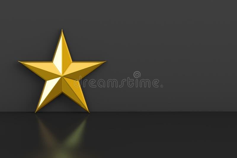Estrella de oro, representación 3D ilustración del vector
