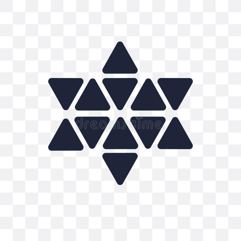 Estrella de seis puntos del icono transparente Estrella de seis puntos del símbolo d ilustración del vector
