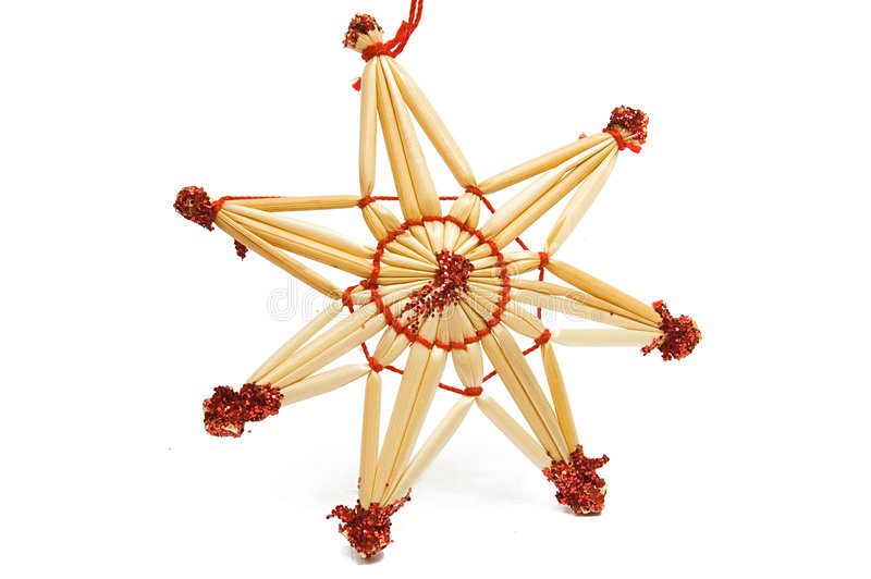 Estrella decorativa de la Navidad de la paja fotografía de archivo libre de regalías