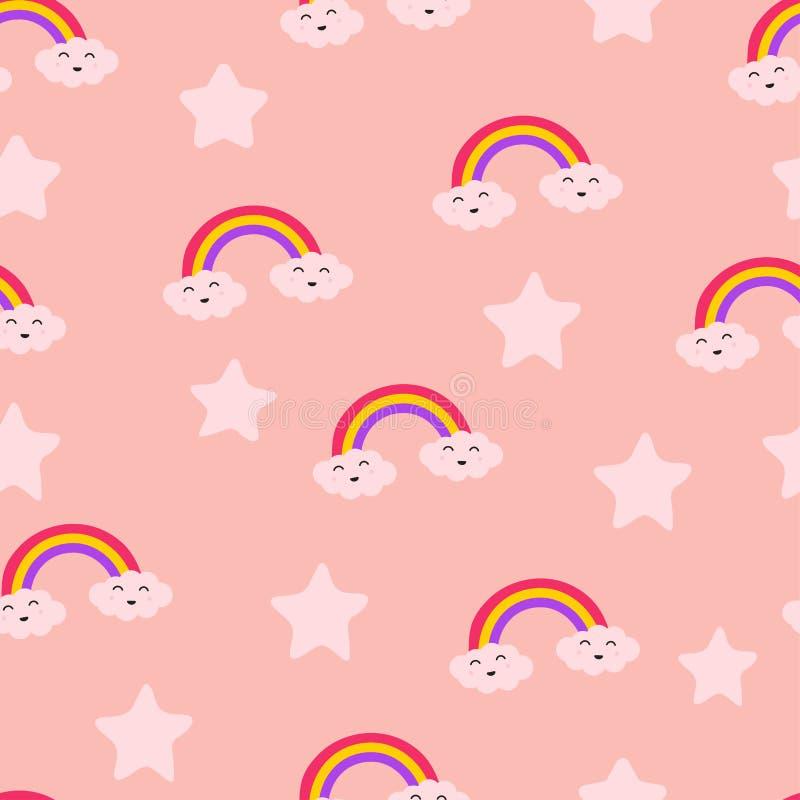 Estrella del arco iris de la nube y modelo inconsútil lindo de la repetición de Sun, alegría del cuidado de la diversión de la ri ilustración del vector
