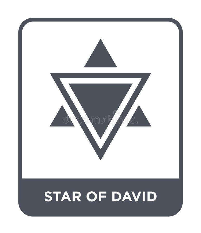estrella del icono de David en estilo de moda del diseño estrella del icono de David aislada en el fondo blanco estrella del icon stock de ilustración