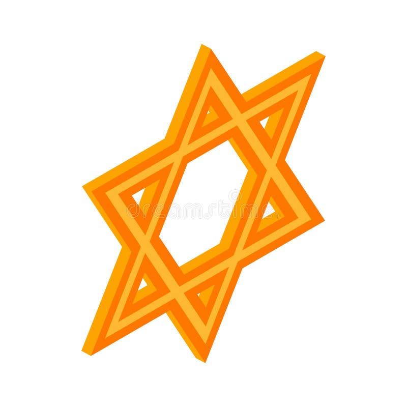 Estrella del icono de David, estilo isométrico 3d ilustración del vector