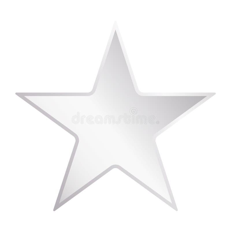 Estrella del metal plateado Logotipo de la estrella con el vector eps10 de la pendiente del metal Icono de plata de la estrella libre illustration