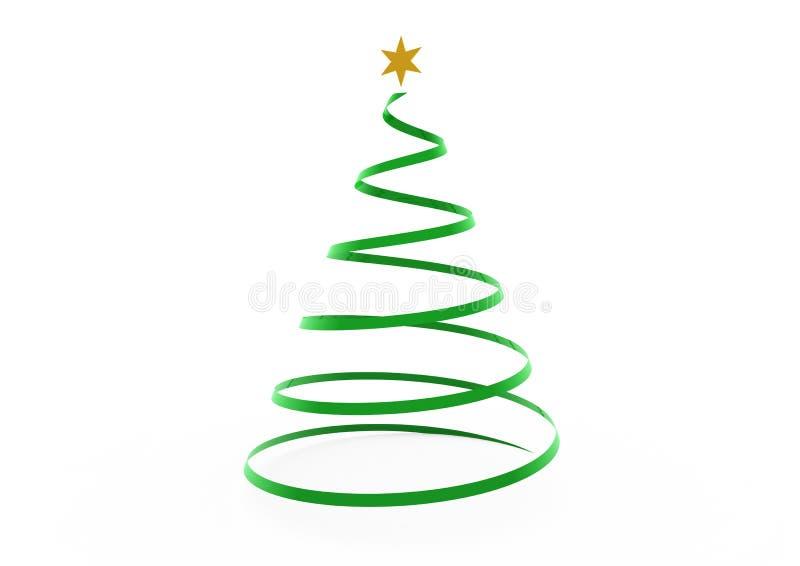 Estrella Del Oro Verde Del rbol De Navidad 3d Stock de ilustracin