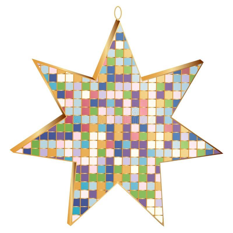 Estrella del rayo del juguete 7 del árbol de navidad adornada con el mosaico 3D, aislado libre illustration