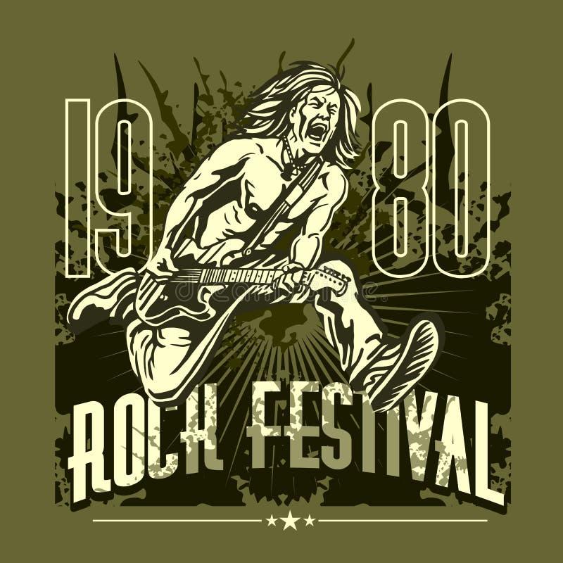 Estrella del rock con la guitarra en el fondo del grunge - rock ilustración del vector