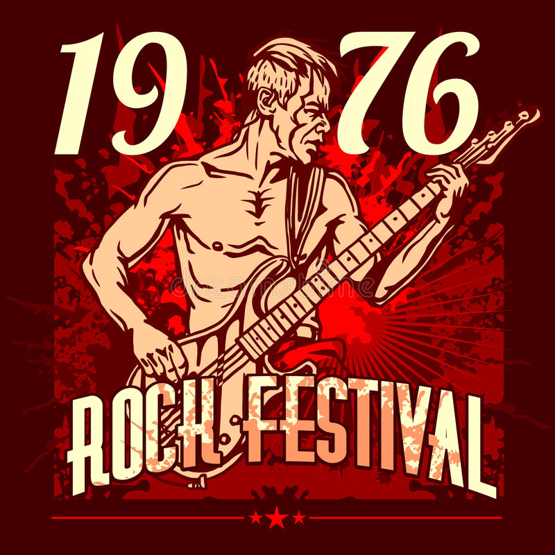 Estrella del rock con la guitarra en el fondo del grunge - rock stock de ilustración