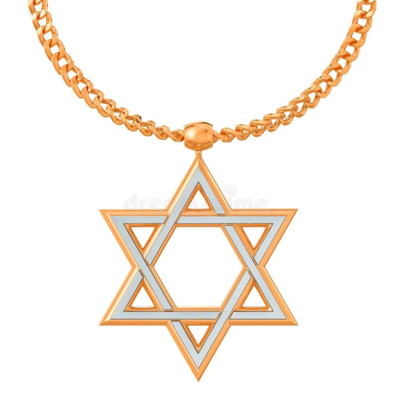 Estrella del símbolo de David en la cadena de oro, representación 3D ilustración del vector