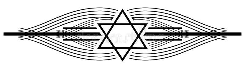 Estrella del tatuaje de David en una decoración elegante negra ilustración del vector