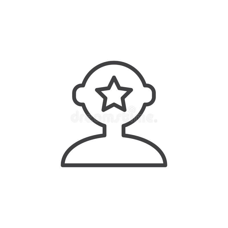 Estrella dentro del icono principal humano del esquema stock de ilustración