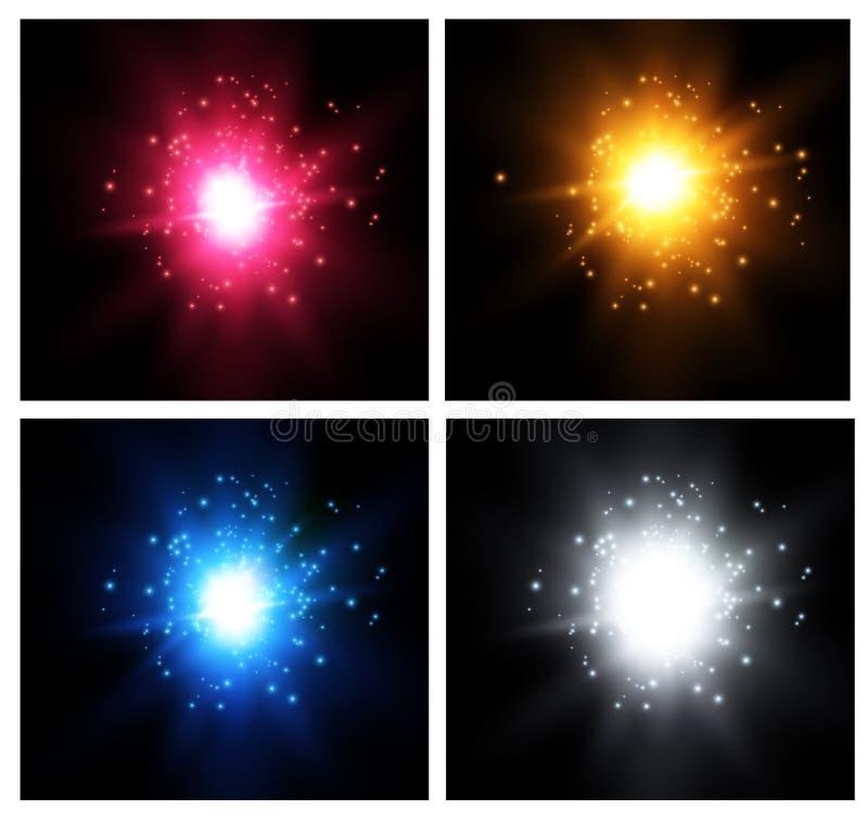 Estrella en un fondo azul Flash brillante Explosión realista con la llamarada Ilustración del vector stock de ilustración