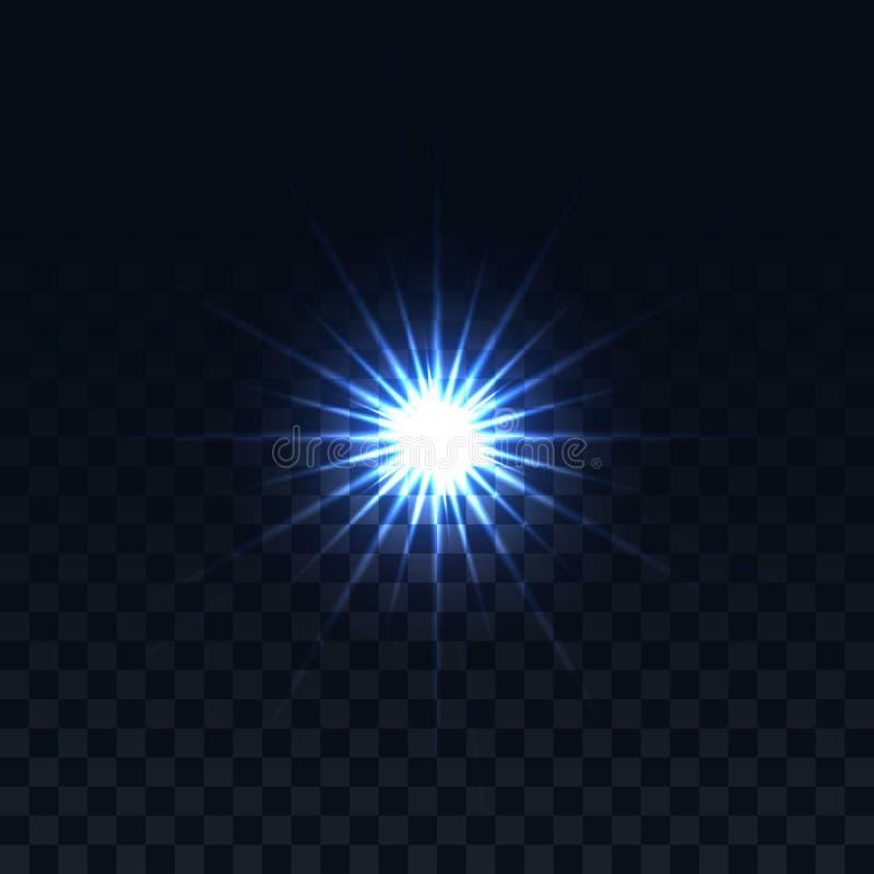 Estrella en un fondo transparente Efecto que brilla intensamente del vector Imagen abstracta de la llamarada de la iluminación stock de ilustración