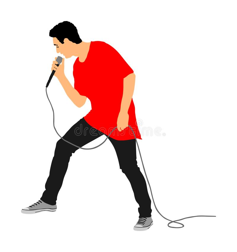 Estrella estupenda del cantante popular en etapa, con el micrófono en manos ilustración del vector