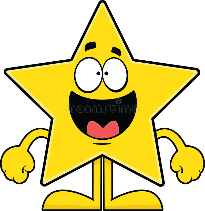 Estrella feliz de la historieta ilustración del vector
