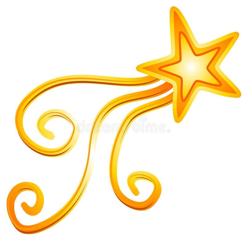 Estrella fugaz amarilla 2 del oro stock de ilustración