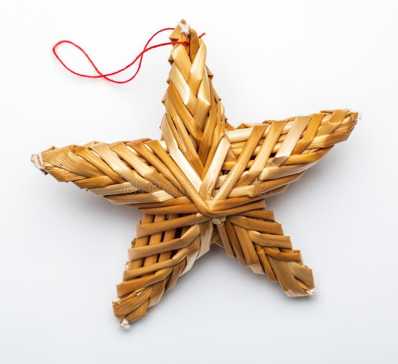 Estrella hermosa hecha de las fibras vegetales stock de ilustración
