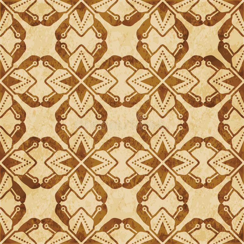 Estrella inconsútil del polígono del fondo del corcho del grunge marrón retro de la textura stock de ilustración